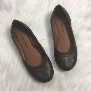 Lucky Brand Emmie Ballet Flats Brown Leather Sz 5
